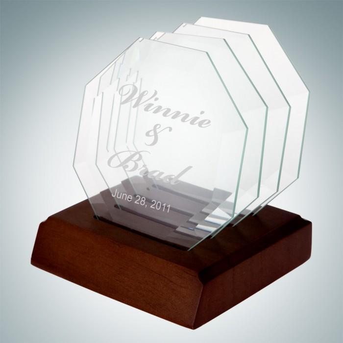 Octagon Glass Coaster - Set