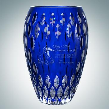Blue Nautilus Vase | Hand Cut