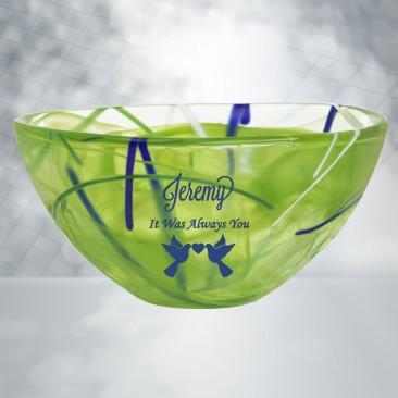 Kosta Boda Green Contrast Bowl