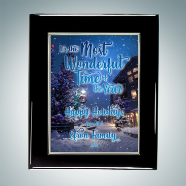 Blackwood Piano Finish Horizontal/Vertical Plaque - Sublimation Color Imprinted Aluminum Silver Border Plate