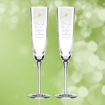 Kate Spade Two Hearts Toasting Flutes 7oz, Pair