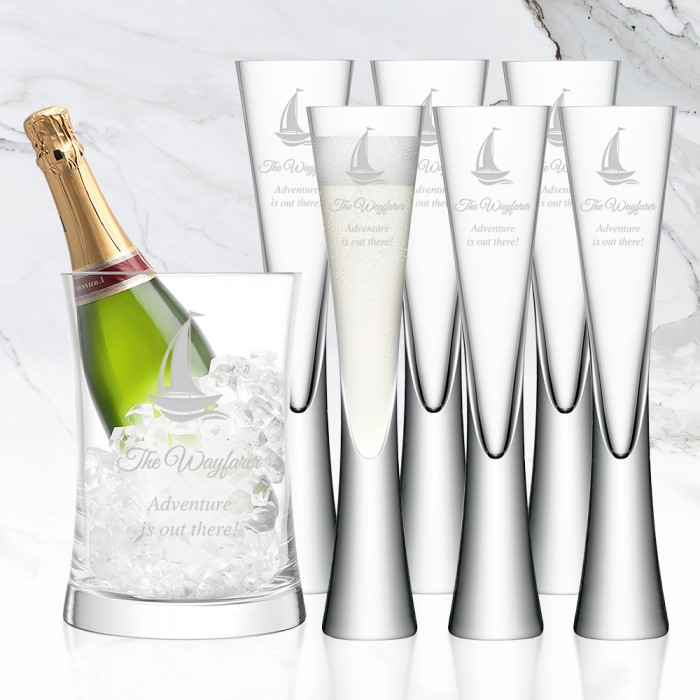 LSA MOYA 7pc Clear Champagne Ser