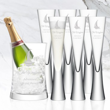 LSA MOYA 7pc Clear Champagne Serving Set