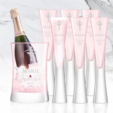 LSA MOYA Blush Pink 7pc Champagne Serving Set