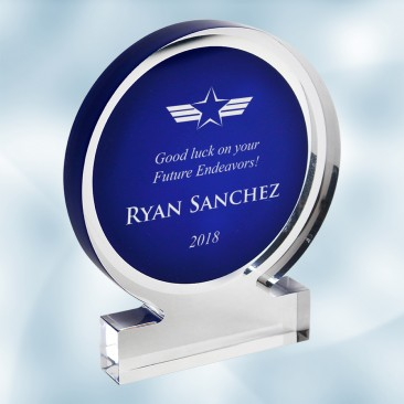 Blue Acrylic Circle Award with Base