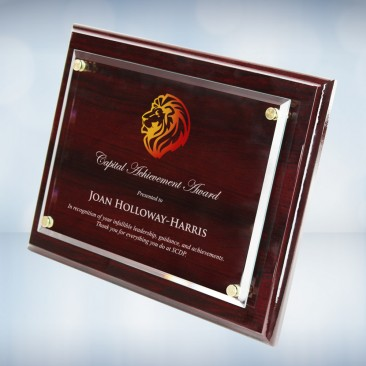 Color Imprinted Floating Acrylic Plate on Glossy Horiz./Verti. Rosewood Plaque