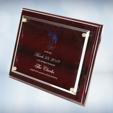 Color Imprinted Floating Acrylic on Rosewood Piano Finish Horizontal/Vertical Wall Plaque