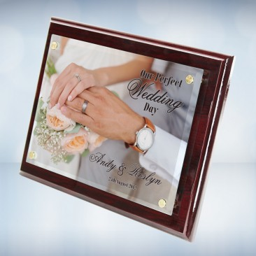 Color Imprinted Photo Floating Acrylic Plate on Gloss Horiz./Verti. Rosewood Plaque