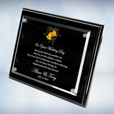 Color Imprinted Floating Acrylic on Blackwood Piano Finish Horizontal/Vertical Wall Plaque