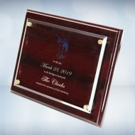 Color Imprinted Floating Acrylic Plate on Gloss Horiz./Verti. Rosewood Plaque