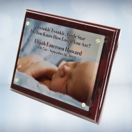 Color Imprinted Photo Floating Acrylic Plate on Glossy Horiz./Verti. Rosewood Plaque