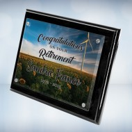 Color Imprinted Photo Floating Acrylic Plate on Glossy Horiz./Verti. Blackwood Plaque
