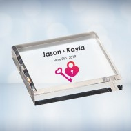 Color Imprinted Acrylic Square Paperweight