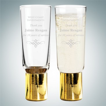 Sagaform Gold Club Champagne Glasses 6.1oz, Pair