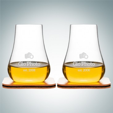 Sagaform Club Whiskey Glasses with Leather Coasters 5oz, Pair