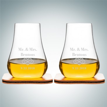 Sagaform Club Whiskey Glasses with Leather Coasters 5oz, Pair