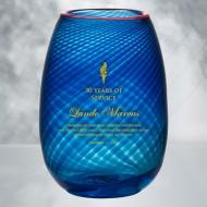Kosta Boda Red Rim Blue Vase