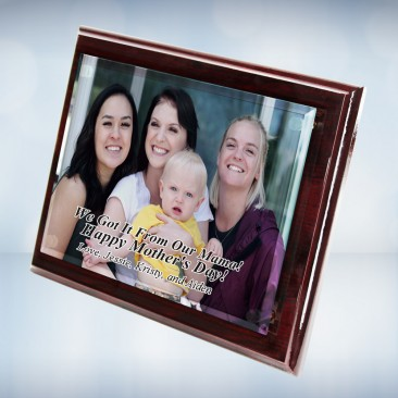 Color Photo Imprinted Floating Acrylic Plate on Gloss Horiz./Verti. Rosewood Plaque
