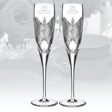 Waterford Love Happiness Flute Pair, 5oz