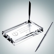 Crystal Single Silver Pen Set