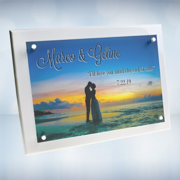 Color Photo Imprinted Floating Acrylic Plate on Gloss Horiz./Verti. White Wood Plaque