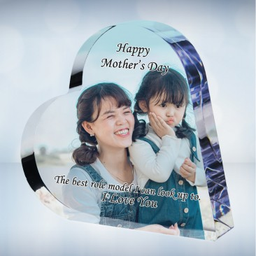 Color Photo Imprinted Acrylic Heart Keepsake