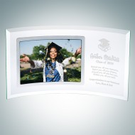 Academic Jade Curved Horizontal Silver Photo Frame