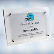Color Imprinted Floating Acrylic Plate on Gloss Horiz./Verti. White Wood Plaque