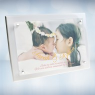 Color Imprinted Photo Floating Acrylic Plate on Glossy Horiz./Verti. White Wood Plaque