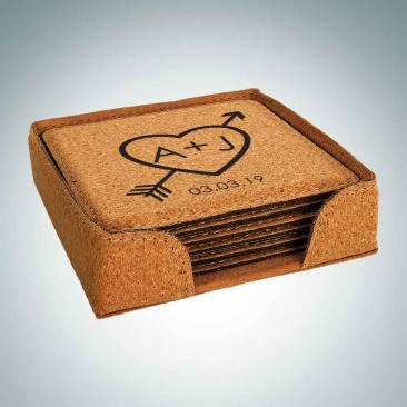 Cork Square Coaster with Holder, 6pc Set