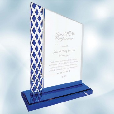 Acrylic Unite Diamond Blue Ice Plaque with Base