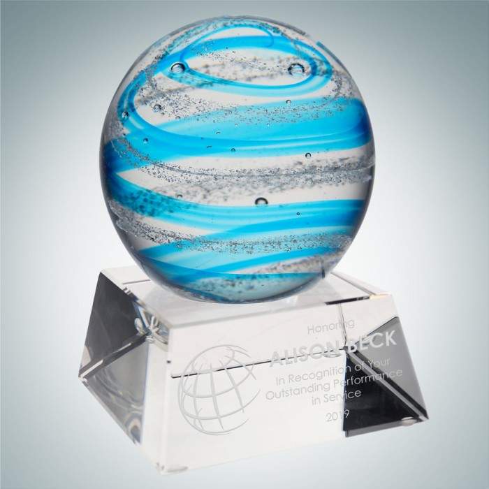 Art Glass Blue Jupiter Award wit