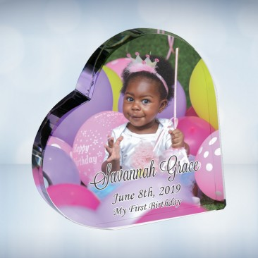 Color Photo Imprinted Crystal Heart Keepsake