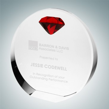 Circle Award with Red Diamond Accent