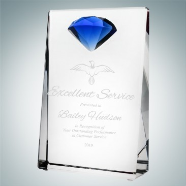 Vertical Rectangle Plaque with Blue Diamond Accent