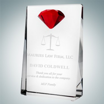 Vertical Rectangle Plaque with Red Diamond Accent