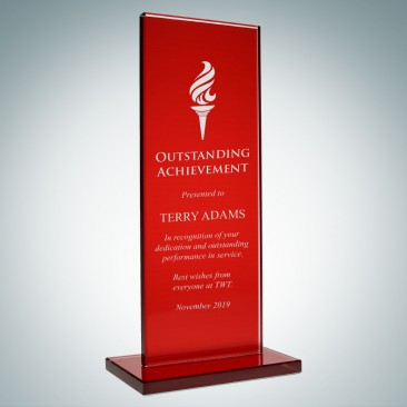 Red Glass Honorary Rectangular Award