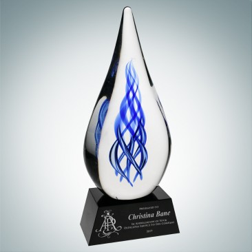 Art Glass Ocean River Award with Black Base