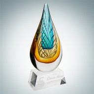 Art Glass Desert Sky Award with Clear Base