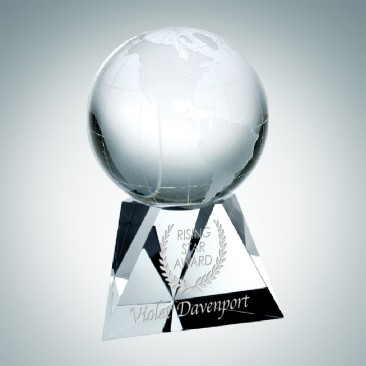 Spinnable World Globe with Concaved Beveled Triangle Base