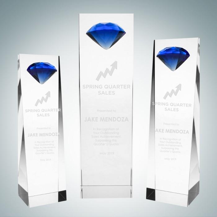 Embedded Blue Diamond Crystal Aw