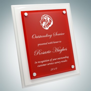 Floating Red Acrylic Plate on Gloss Horiz./Verti. White Wood Plaque