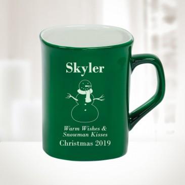 10oz Green Ceramic Round Corner Mug