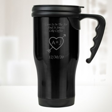 Black Stainless Steel Travel Mug with Handle 14oz