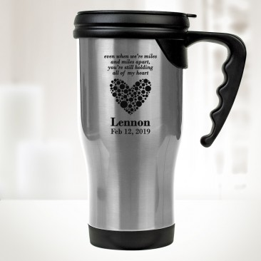 Silver Stainless Steel Travel Mug with Handle 14oz