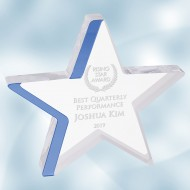 Acrylic Star with Blue Edge