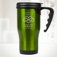 Green Stainless Steel Travel Mug with Handle 14oz