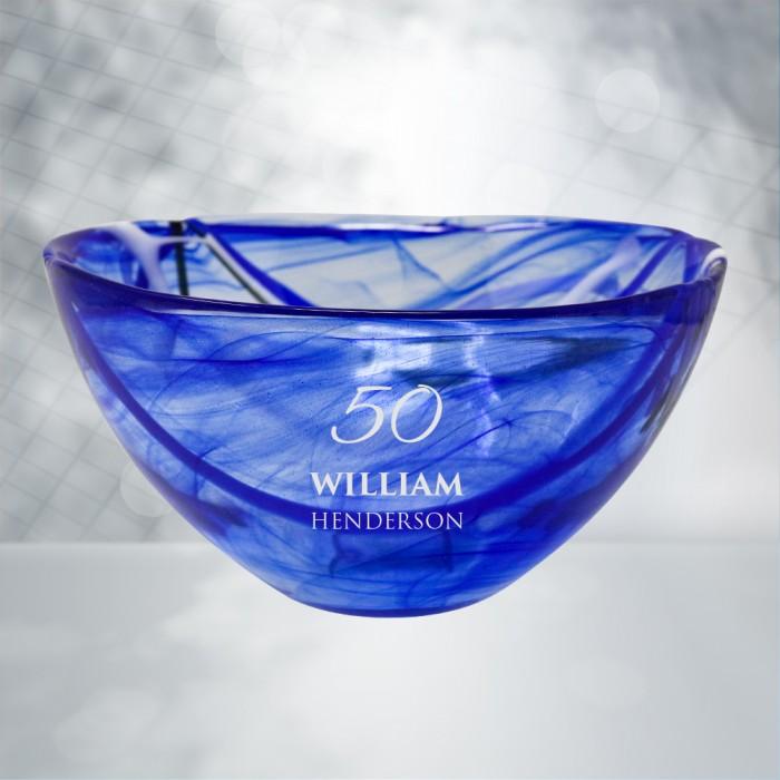 Kosta Boda Blue Contrast Bowl