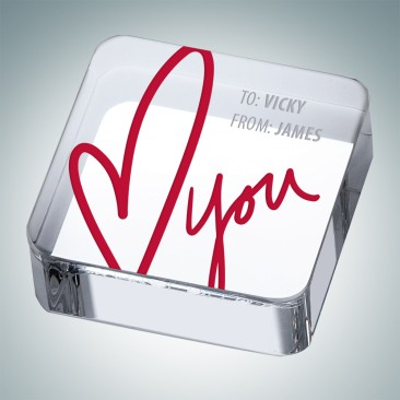 Pre-Designed Love Square Paperweight