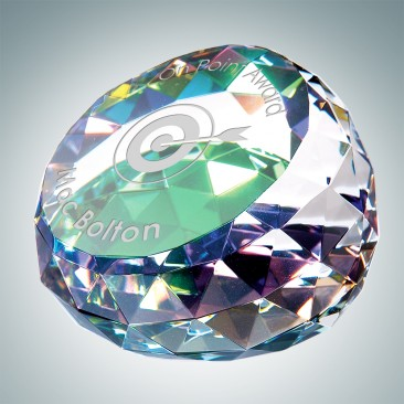 Color Coated Gem Cut Slant Dome Paperweight